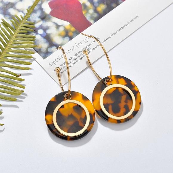 Jewelry - Gold Hoops w/Dangling Leopard & Gold Disc Earrings